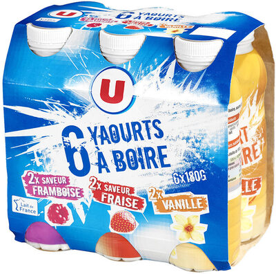 Yaourts à boire 3 parfums fraise vanille framboise - Produit - fr
