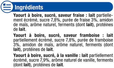 Yaourts à boire 3 parfums fraise vanille framboise - Ingrédients