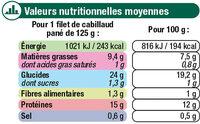 Filets de cabillaud panure croustillant MSC - Voedingswaarden - fr