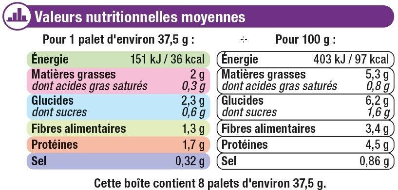 Palets de légumes courgette, petits légumes - Informations nutritionnelles - fr