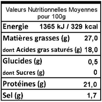 demi Reblochon de Savoie fruitier AOP lait cru 27% de MG - Informations nutritionnelles - fr