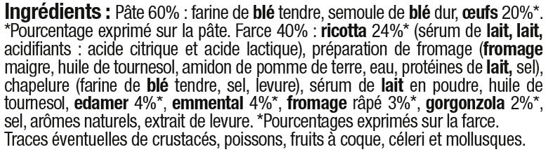 Tortellini 4 fromages - Ingredients