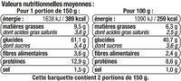 Tortellini ricotta épinards - Informations nutritionnelles