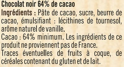 Tablette de chocolat corsé à pâtisser noir 64% - Ingredients - fr