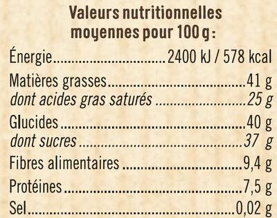 Tablette de chocolat corsé à pâtisser noir 64% - Nutrition facts - fr