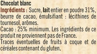 Tablette de chocolat blanc à pâtisser - Ingrédients