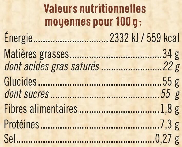 Tablette de chocolat blanc à pâtisser - Informations nutritionnelles