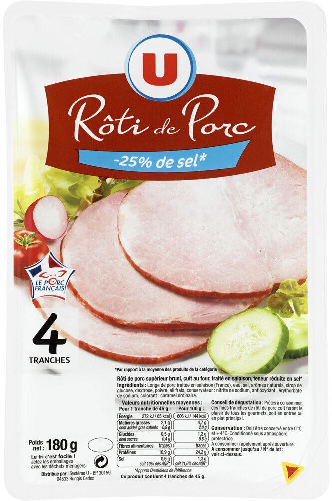 Rôti de porc - 25% de sel Viande de Porc Française - Produit - fr