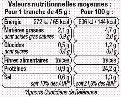 Rôti de porc - 25% de sel Viande de Porc Française - Nutrition facts