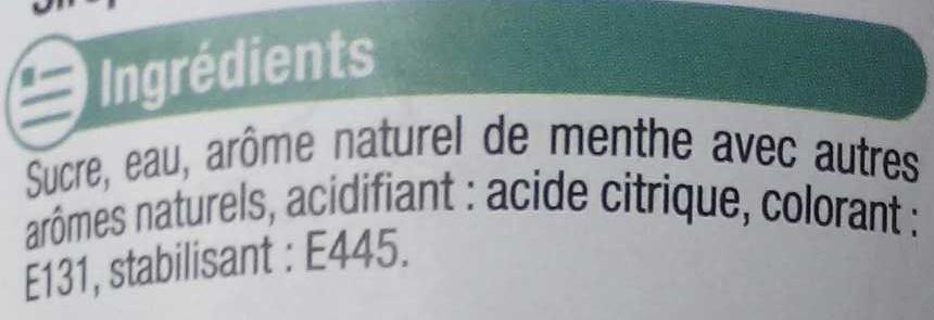Sirop de Menthe Glaciale - Ingredients - fr