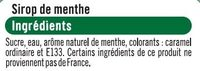 Sirop de menthe verte - Ingrédients