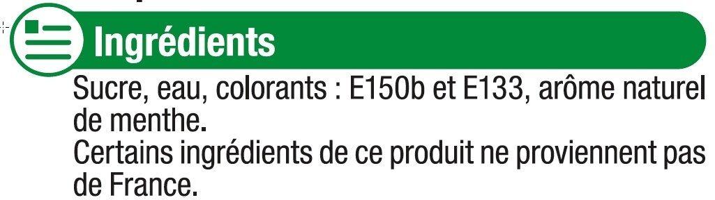 Sirop de menthe verte - Ingrédients - fr