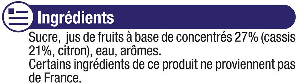 Sirop de Cassis - Ingrédients