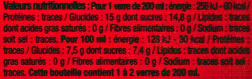 Cola Classic U - Valori nutrizionali - fr