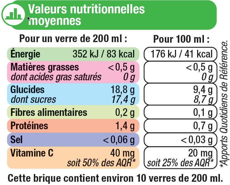 Pur jus orange sans pulpe - Informations nutritionnelles