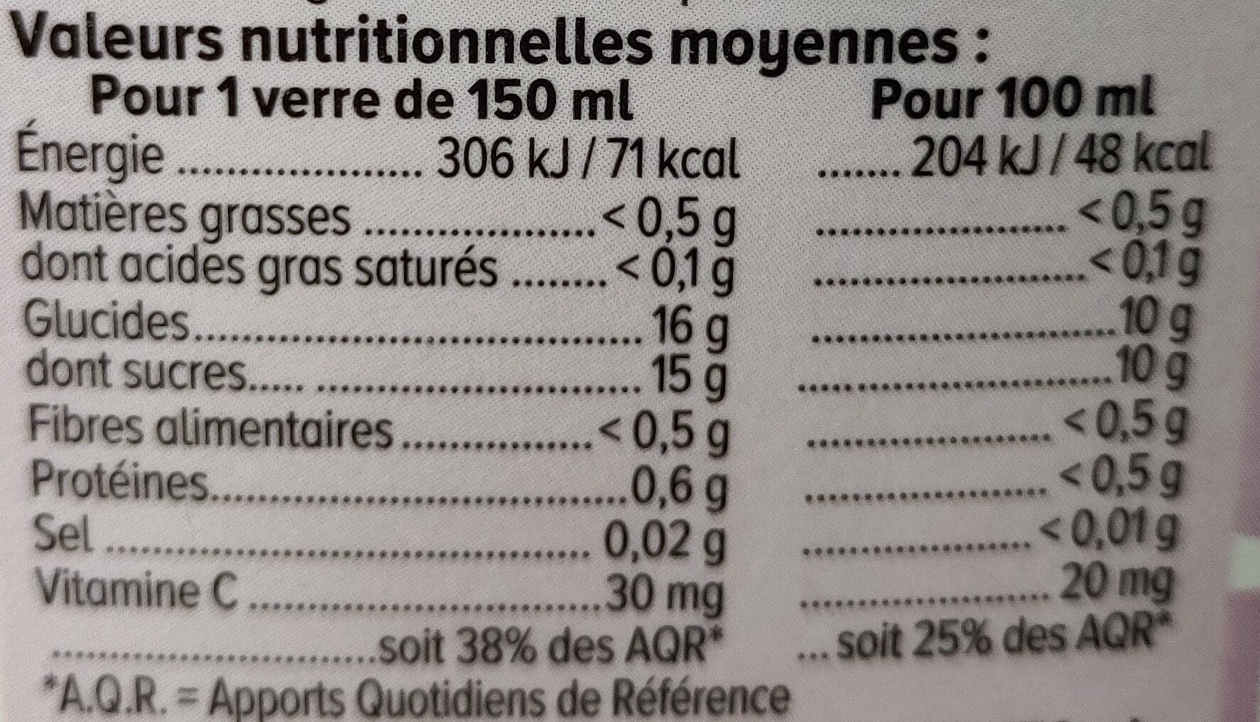 Pur jus pressé multifruits - Informations nutritionnelles - fr