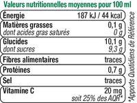 Jus à base de concentré d'orange - Nutrition facts - fr