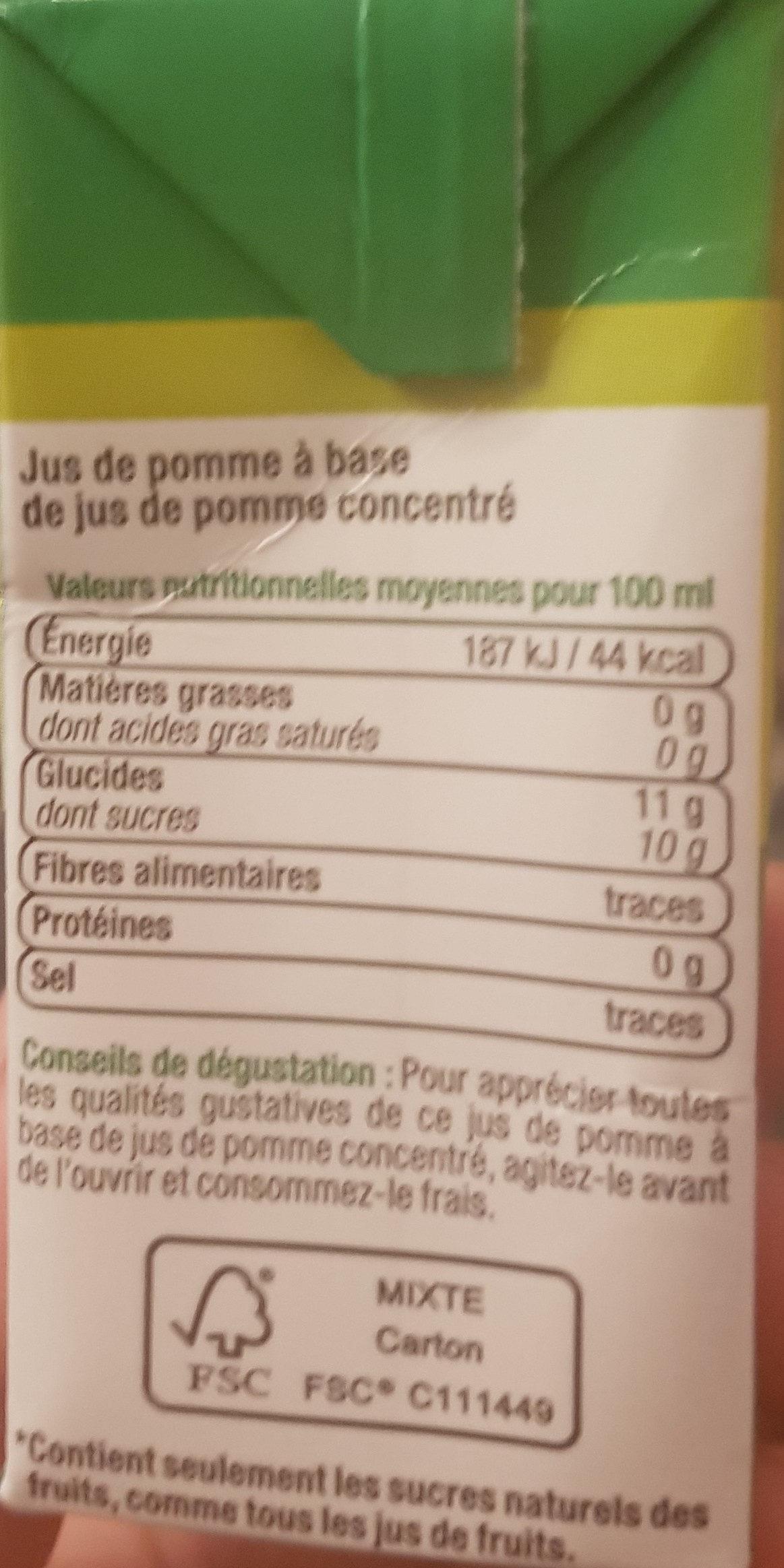 Jus de Pomme à base de jus concentré - Informations nutritionnelles - fr