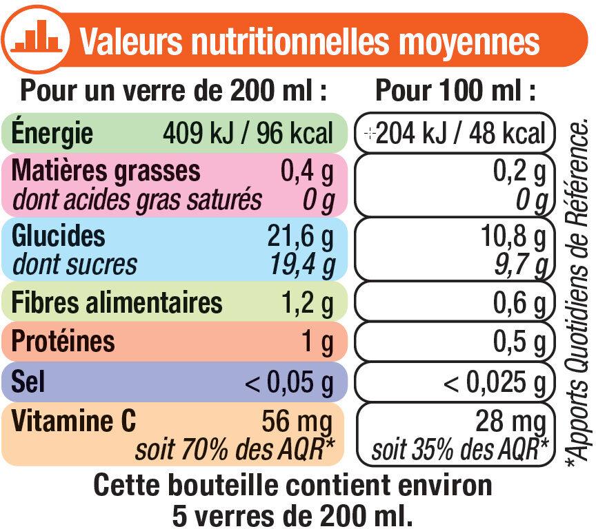 Pur jus d'orange avec pulpe - Voedingswaarden - fr