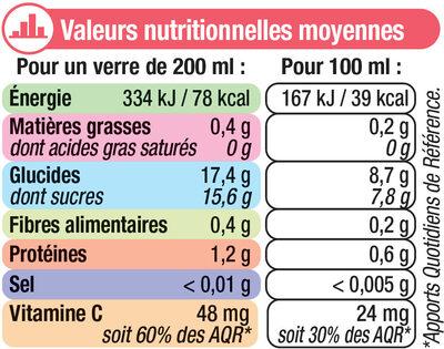 Pur jus de pamplemousse rose - Informations nutritionnelles - fr