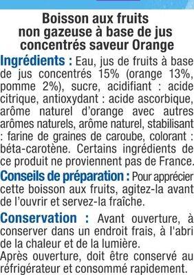 Boisson plate à l'orange, - Ingrediënten