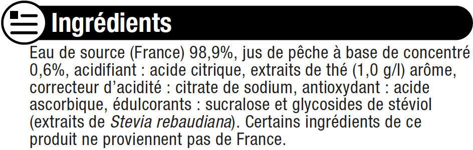 Boisson au thé glacé saveur pêche zéro - Ingrédients - fr