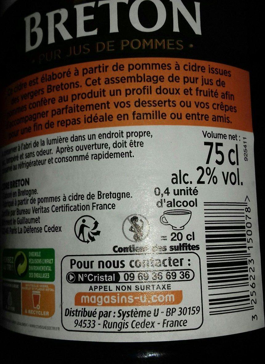 Cidre doux Breton - Ingredients