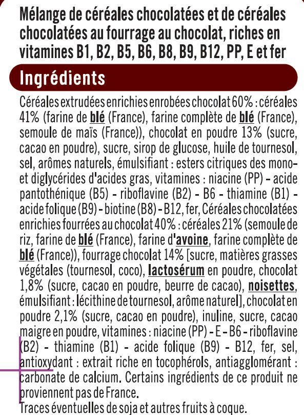 Céréales mix croustillantes et fondantes chocolat - Ingredients - fr