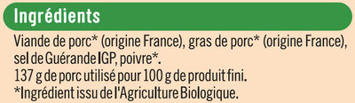 Rillettes du mans Bio - Ingredients - fr