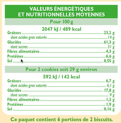 Cookies chocolat pépite de chocolat - Informations nutritionnelles