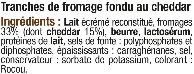 Fromage fondu pasteurisé au cheddar pour hamburger 18% de matière grasse - Ingrediënten - fr