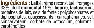 Fromage fondu pasteurisé à l'emmental pour croque monsieur 18%MG - Ingrediënten