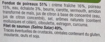 Saumon Atlantique et Fondue de Poireaux, Surgelé - Ingrediënten