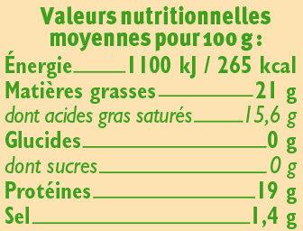 Fromage Bûche de chèvre bio au lait pasteurisé 21% de MG - Voedingswaarden