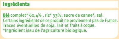 Pétales de blé complet et riz nature Bio - Ingrédients - fr