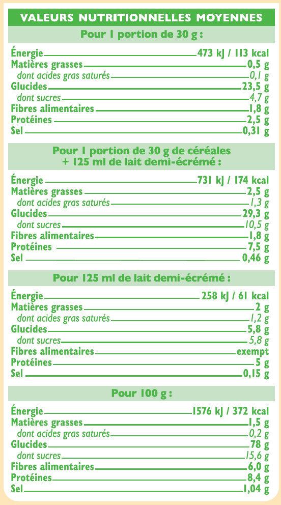 Pétales de blé complet et riz nature Bio - Informations nutritionnelles - fr