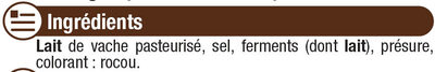 Fromage Brique pasteurisé affinée de caractère 31% de MG - Ingrédients - fr