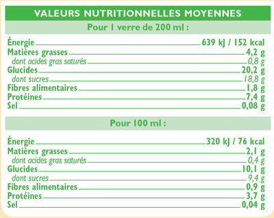 Boisson soja au chocolat - Nutrition facts