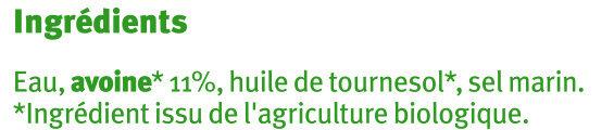 Boisson avoine Bio - Inhaltsstoffe - fr