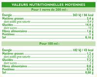 Boisson bio à l'avoine - Informations nutritionnelles