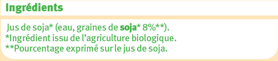 Boisson bio au jus de soja nature - Ingredients - fr