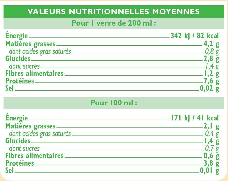 Boisson bio au jus de soja nature - Nutrition facts - fr