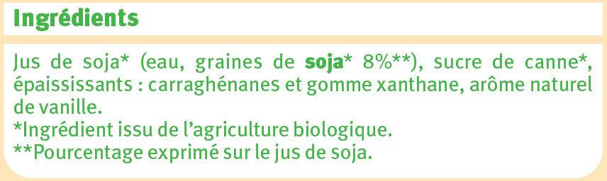 Boisson soja à la vanille - Ingrediënten - fr
