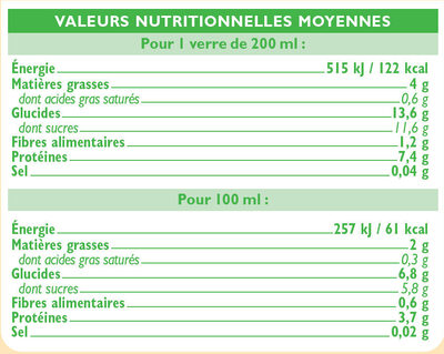 Boisson soja à la vanille - Voedingswaarden - fr