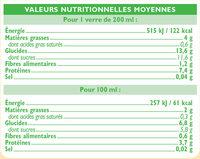 Boisson soja à la vanille - Nutrition facts - fr