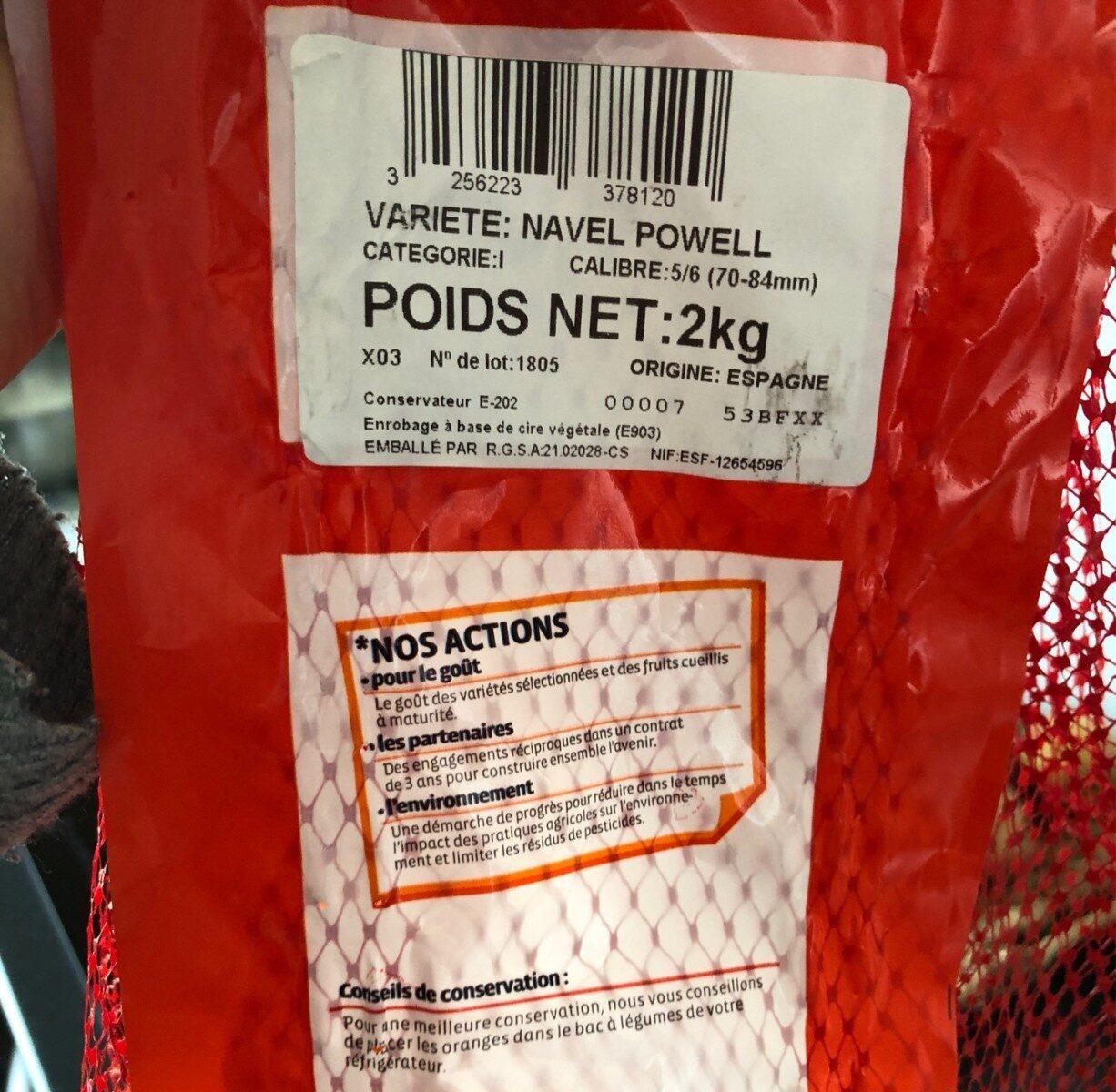 Orange à dessert Navel Powell, calibre 5/6 catégorie 1 - Ingredients