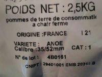 Pomme de terre Anoe, de consommation à chair ferme, calibre 35/52mm cat.1 - Ingredients