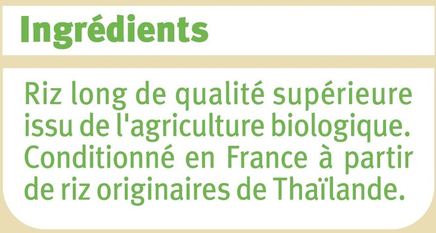 Riz thaï Bio - Ingrédients - fr