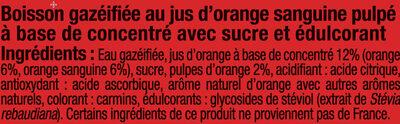 Orangeade pulpée sanguine - Ingrédients