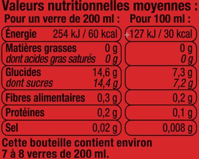 Orangeade pulpée sanguine - Informations nutritionnelles